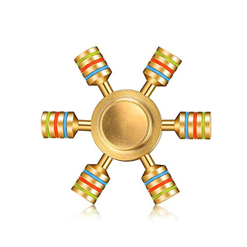 Rudder Hand Spinner |EDC Six Wings Pure Brass Fidget Spinner | 6 Winged Luxury Detachable Hand Fidget toys | Relief From ADHD ADD OCD Autism | Brass-gold