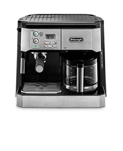 DeLonghi BCO430 Combination Pump Espresso and 10-cup Drip Coffee Machine with Frothing Wand, Silver and Black Dual Espresso Programmable Coffee Maker