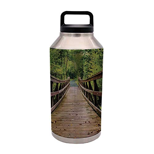Apartment Decor Durable 64OZ Stainless Steel Bottle,Rustic Wooden Walking Bridge Limberlost Trail in Shenandoah National Park Virginia Decorative for Home Travel Office,4