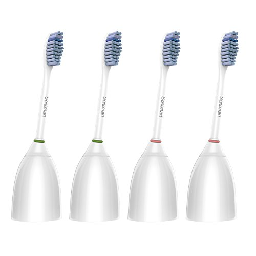 Sonimart Sensitive Replacement Toothbrush Heads for Philips Sonicare e-Series HX7052, 4 pack, fits Sonicare Advance, CleanCare, Elite, Essence and Xtreme Philips Brush -