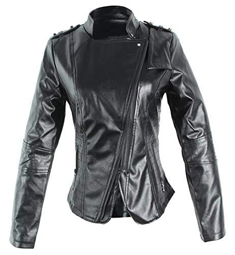 Jacket Cappotto Slim Elegante In Similpelle Cerniera 13 Donna Giacca Manica Primaverile Di Mode Giaccone Lunga Marca Biker Vintage Con Nero Blue Autunno Fit Diagonale 8x47RRWFn