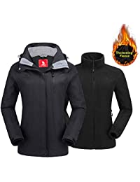 Women's Ski Jacket Winter Jacket Waterproof 3 in 1...