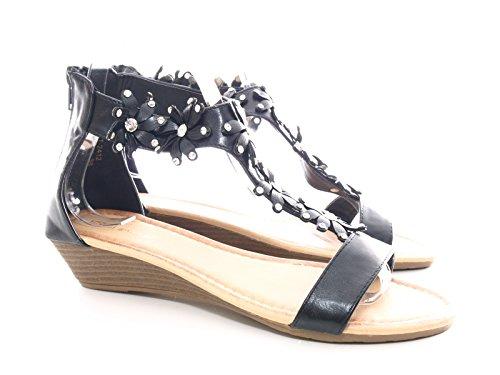 Damen Keilabsatz Knöchelriemchen Sandalen Schwarz # 2412