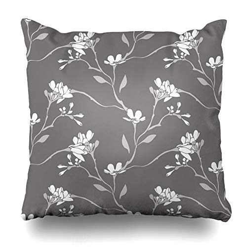 - Ahawoso Decorative Throw Pillow Cover Gray Pattern Spring Flowers Abstract Floral Outline Blooming Color Contour Drawing Drawn Design Home Decor Zippered Square Size 16