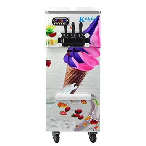 Floor standing 3 Flavors Soft Serve ice Cream Machine, 2+1 Mix Flavors Ice Cream Maker, Upper Tanks refrigerated, auto…