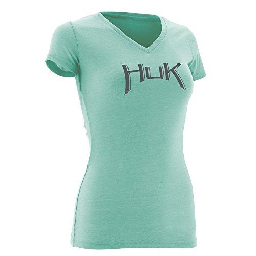 Arched Logo Tee (Huk Women's Arched Logo Tee, Heather Julep, Medium)