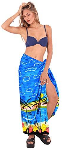 regalos sarong alohawear envoltura traje de baño, pareo hawaiano de baño del traje de baño cubren para mujer vestido de la playa Azul