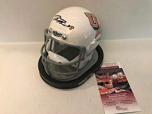 (Braxton Berrios Autographed Signed Memorabilia Miami Hurricanes Throwback 1970S Mini Helmet - JSA Authentic)