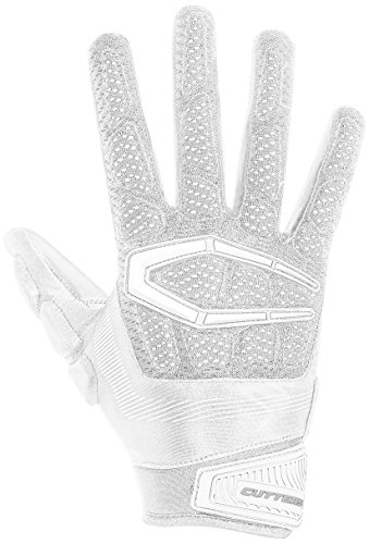 Cutters Mens Football Receiver Glove - Cutters S652 Gamer 3.0 Padded Receiver Glove-Adult: Large-WHITE