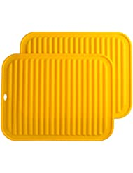 """Smithcraft Silicone Trivets Mat Set 9""""X12"""" Big Place Mat, Hot Pads, Kitchen Table Mat - Waterproof, (Set of 2) Non Slip, Flexible, Durable, Dishwasher Safe Color Yellow"""