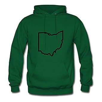 Women Ohio Designed Hoodies Green Customized Shirts With X-large