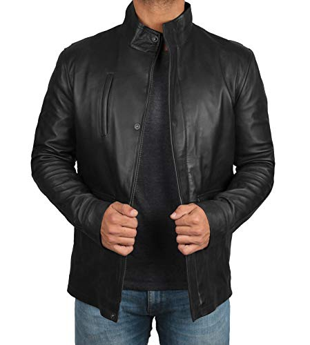 Black Leather Car Coat - Genuine Lambskin Mens Real Leather Jacket | Richards 2XL
