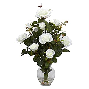 Rose Bush with Vase Silk Flower Arrangement 112