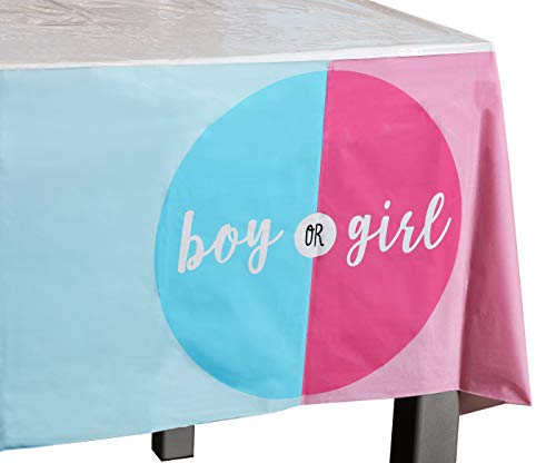 Gender Reveal Party Tablecloths - 3 Pack Boy or Girl Disposable Plastic Rectangular Table Covers for Baby Shower Decorations and Party Supplies in Pink and Blue, 54 x 108 inches]()