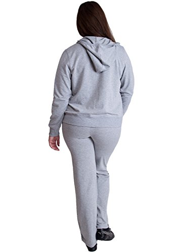 Ladies Heather Gray Plus Size Zip-up Hoodie & Drawstring Sweatpants Set