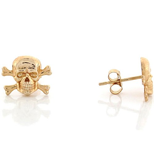 10k Yellow Gold 1.1cm Skull and Crossbones Pin Earrings - Crossbones Pin