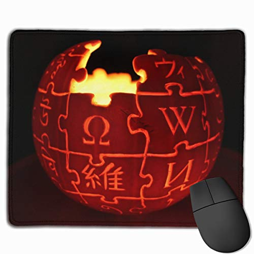 Wikipedia Logo Jack O' Lantern Mouse Pad 7.08X8.66 inches/18X22 cm with Decor,Anti-Skid Rubber Mouse Pad,with Stitched -
