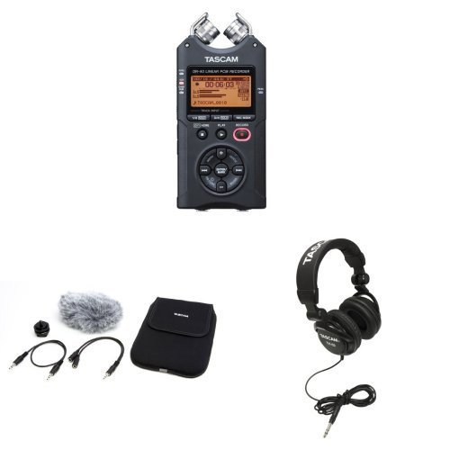 tascam-dr-40-4-track-portable-digital-recorder-with-tascam-accessories-bundle