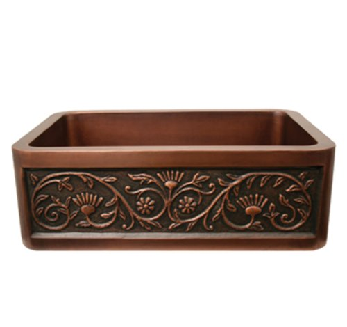 Whitehaus WH3020COFCSF-SCO Haus 30-Inch Rectangular Undermount Sink with a Sun Flower Design Front Apron, Smooth Copper Copperhaus Rectangular Copper Sink