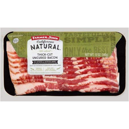 Farmer John Thick Cut Uncured Bacon 12 oz (4 Pack) by Farmer John