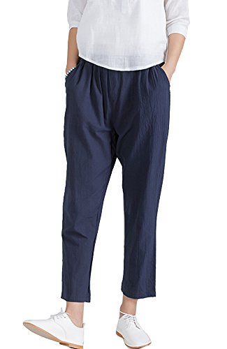 Flax Linen Pants (Sheicon Women Loose Soft Cotton Linen Ankle Pants Plus With Elastic Waist Color Navy blue Size L)