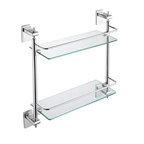 (QFFL 2-Layer Glass Shelf, 304 Stainless Steel Bathroom Shelf, Wash Bathroom Shelf Cosmetics Shelf Bathroom Shelves)
