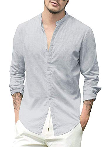 (Jackgold phll Taoyuan Mens Linen Cotton Banded Collar Long Sleeve Button Down Casual Shirts Regular Fit Dress Shirt and Big Placket Attire Hidden Light Pants )