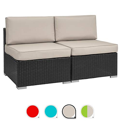 Walsunny 2pcs Patio Outdoor Furniture Sets,Low Back All-Weather Rattan Sectional Sofa with Washable Couch Cushions (Black Rattan) (Loveseats Khaki)