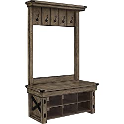 Ameriwood Home Wildwood Wood Veneer Entryway Hall Tree w/Storage Bench, Rustic Gray