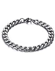 TTVOVO Mens Stainless Steel Bracelet, Curb Cuban Chain Link Bracelet, Men's Masculine Motorcycle Biker Bracelet, Masculine ID Identification Bracelet - Various Styles