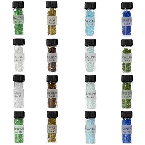 Galaxy Glass Sample Kit - Crushed Glass for Decorations, Crafts, Vase Filler, Terrarium, Sea Glass, Garden, Fusing, Crystals, Jewelry