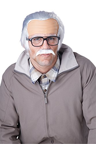 California Costumes Men's Rude Grandpa Wig, Gray, One (Old Man Halloween Costume)