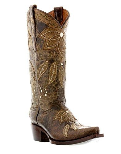 Cowboy Professionnel Womens Été Superposition En Cuir Bottes De Cow-boy Snip Toe Marron