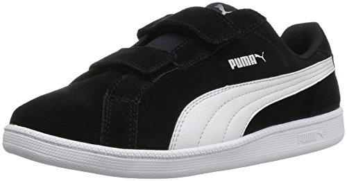 PUMA Smash FUN SD V Kids Sneaker, Puma Black/Puma White, 10.5 M US Little Kid