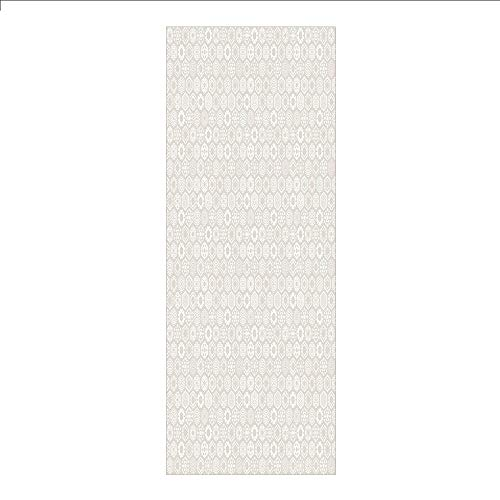 3D Decorative Film Privacy Window Film No Glue,Winter,Stylized Flakes with Hexagonal Comb Pattern Mosaic Tile Style Year Celebration Decorative,Beige White,for Home&Office -