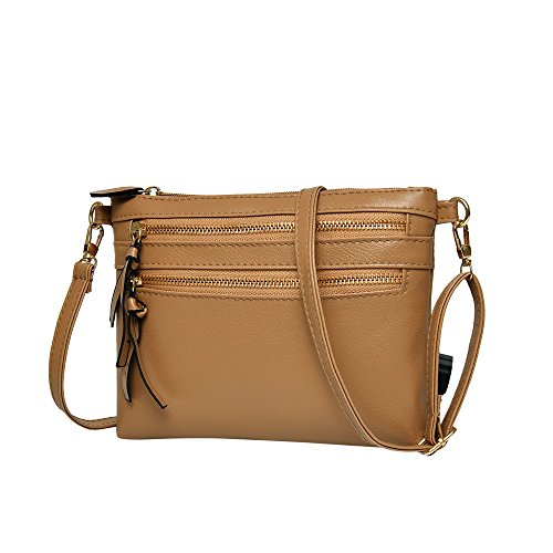 (ZOMUSAR Women Girl Fashion Solid PU Leather Flap Bag Pretty Litchi Pattern Zipper Closure Crossbody Shoulder Bag )