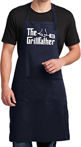 Mens The Grillfather (White Print) Full Length Apron with Pockets, - Next Delivery Day B&q