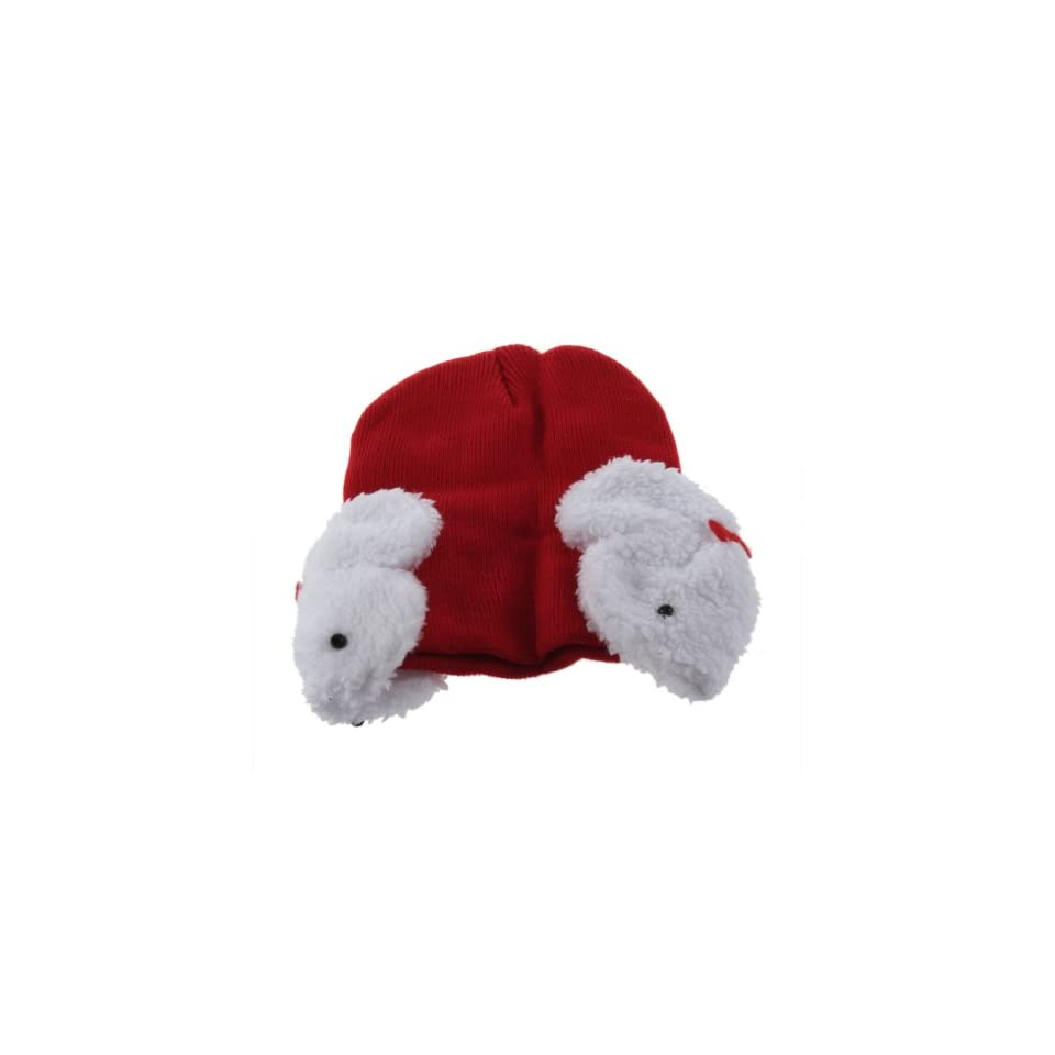 YKS Baby Toddler Kids Boys Girl Winter Ear protection Flap Warm keeping Hat Beanie soft Cap Crochet bunny small dual Rabbit shape decor wool earmuffs Beanie for children (red) Clothing