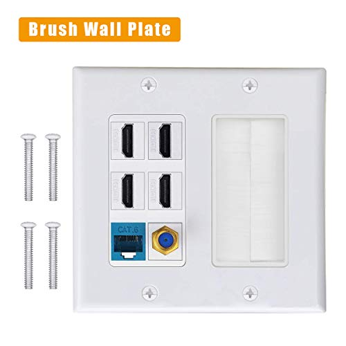Brush Wall Plate, IQIAN 2 Gang 4 HDMI HDTV + CAT6 RJ45 Ethernet + Coaxial Cable TV F Type Keystone Face Plate,Wall Socket for HDTV, HDMI, Home Theater ()