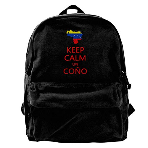 (Keep Calm Un Cono SOS Venezuela Unisex Classic Canvas Travel School Backpack Fits 14 Inch Laptop)