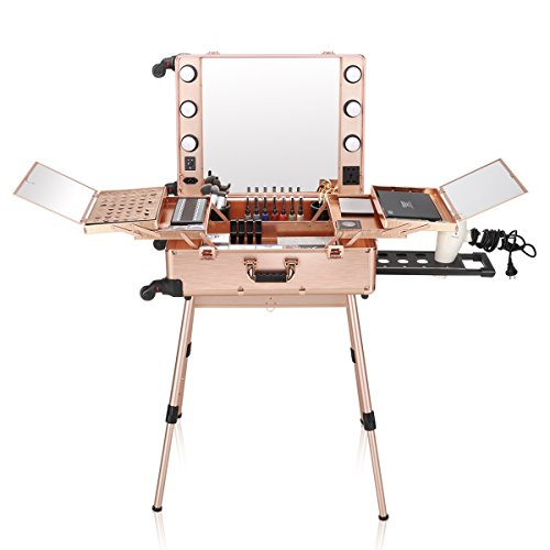 Ovonni LED Makeup Train Case, Lighted Rolling Travel Portable Cosmetic Organizer Box with Mirror & 4 Detachable Wheels, Professional Artist Trolley Studio Free Standing Workstation, Rose Gold by Ovonni
