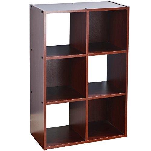 VCCUCINE Multipurpose Bookcase Storage Shelves 6 Cube Organizer, Dark Cherry