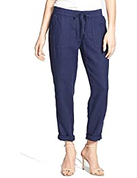 Martesha Drawstring Linen Pants for Women in Navy, 12