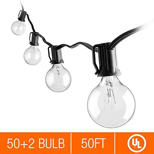 (Zanflare 50ft Vintage Globe String Lights with 52 Clear G40 Bulbs (2 for Spare), Connectable String Lights for Patio, Backyard, Party, Wedding, Porchs - UL Listed for Outdoor Indoor Use)