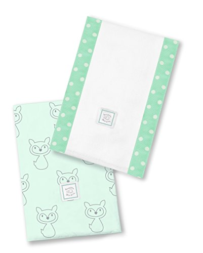 SwaddleDesigns Baby Burpies, Set of 2 Cotton Burp Cloths, Gray Fox on SeaCrystal by SwaddleDesigns
