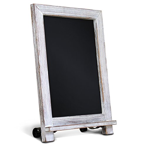 "Counter Frame Table (Rustic Whitewash Tabletop Chalkboard Sign / Hanging Magnetic Wall Chalkboard / Small Countertop Chalkboard Easel / Kitchen Countertop Memo Board / 9.5"" x 14"" . Weddings, Birthdays, Baby Announcements)"