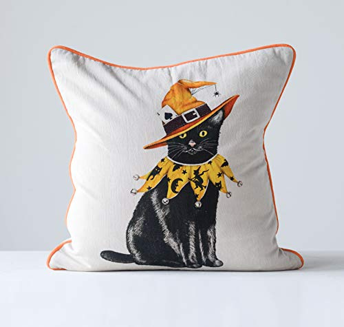 Creative Co-Op Square Cotton Pillow with Black Cat in Halloween Hat -