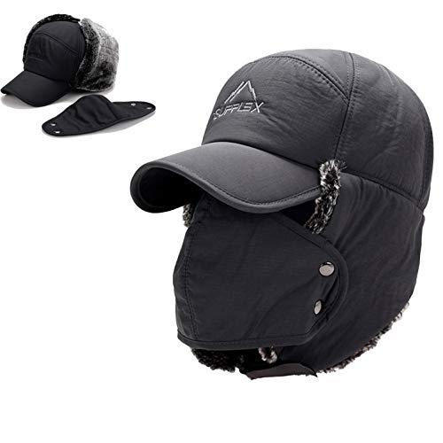 Trooper Trapper Hat Men's Winter Windproof Warm Mask Earflaps Outdoor Sports Walking Skiing Hunting Aviator Hat (Grey) (Earflap Hats For Men)