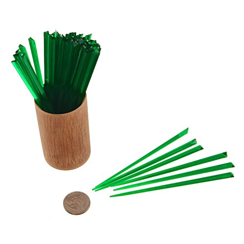 BambooMN 4.7'' Dark Green Triangular Plastic Cocktail Prism Cocktail Fruit Sandwich Picks Skewers for Catered Events, Holiday's, Restaurants or Buffets Party Supplies, 300 Pcs by BambooMN