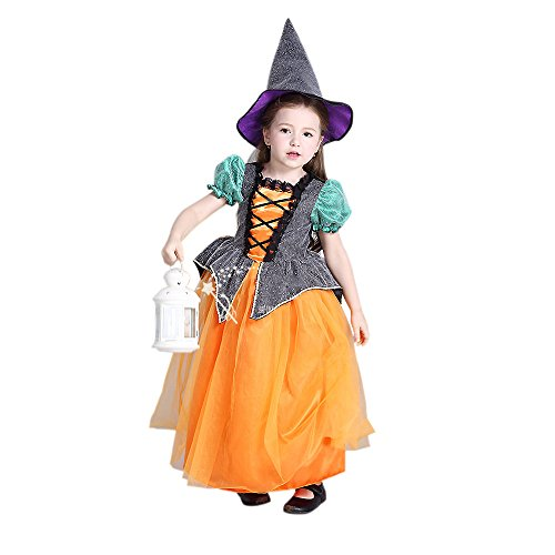 Jellydog Princess Dress, Little Girls Puff Sleeve Dress Up Costume, Pumpkin Witch Costumes for Halloween Cosplay Party (Unique Little Girl Halloween Costumes)